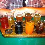 sampler of beers and soda