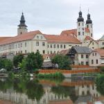 A view of Telc across one of the three large ponds surrounding the historic centre.
