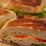 Espace cafe's oven roasted chicken breast panini.