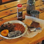 Barbecued Buffalo, Potato, and all the fixin's at Circle B outside Rapid City, SD