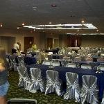 View of the event hall decorated for our reception