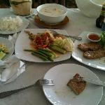 fresh coconut, coconut soup, papaya salad and pork chops