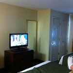  partial view of our room. Queen beds and flat screen tv. Also, two closets!