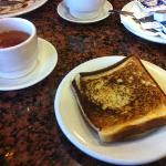 breakfast: tea/juice/burnt toast.