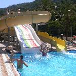  2 slides in one of the 3 pools