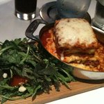Lasagna and what I will call dandelion salad