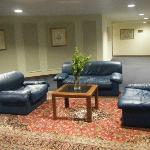 Dated furniture & stained carpets near lifts