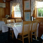The dining room at The Dolphin is pine panelled.