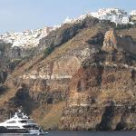  a view of Santorini from the Caldera Bay
