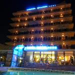 The hotel in the evening