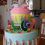Vanilla buttercream and vanilla cake with candy for 1 year olds birthday!