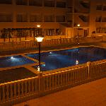 Apartment pool at night