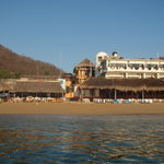  Playa Panteon from the sea, with Hotel La Cabana in the background