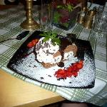 Chocolate cake with sauce