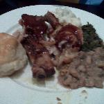 BBQ Chicken, Collard Greens, Biscuit