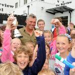 Darren Clarke, Open Champion shares his victory with young fans at Bayview Hotel