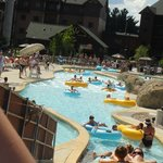 conveyor belt in lazy river at Glacier Canyon