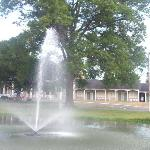 Pond fountain and The Inn
