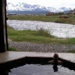  Me sitting in the hot spring tub.