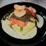 maple dijon salmon with prawns! TO DIE FOR!