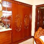 Neo-classical mouldings on the wardrobes and doors, with lots of storage space!