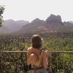 Daughter with new cowboy hat, view outside our room The Orchards, Sedona