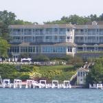 The view of The Geneva Inn from our boat tour around the lake