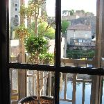 view out of restaurant to the Chateau across the river