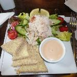 Crab meat on salad