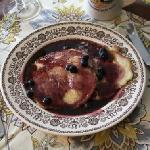  Fantastic pancakes with fresh picked blueberries from the garden!