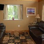 Family room with DISH Network