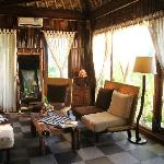 The lounge area in the bungalow