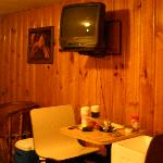 The lovely dinette and narrow-screen tv