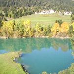Gorgeous blue lake we stopped at on way to the mountain range