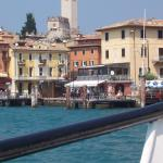 view of malcesine harbour from boat