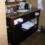 Granite and wood vanity; nice style