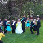 The wedding party on the lawn