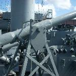 The guns are all still in place on the U.S.S. Slater