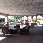  Covered patio in between 3 pools
