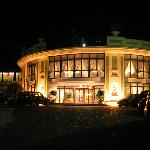 The hotel entrance at night