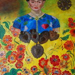 Frida portrait decorates a wall