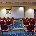 Our meeting room accommodates up to 75 people in a theatre style setup..  We can accommodate oth