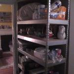  Supply shelves that you have to walk by to get into the kitchen