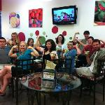 Enjoying some frozen yogurt with friends.
