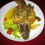 Conch stuffed in whole grouper !