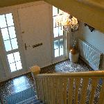 Foyer of Trebor, looking down from the stairs up to our bedroom