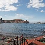 Beach and view of downtown Collioure