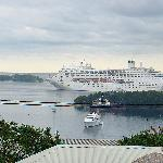  View with cruise ship