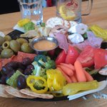 That antipasto is a work of art, almost too pretty to eat.  Almost.
