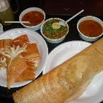 Rava Masala dosa (right), spring dosa (left), Samosa chaat (middle)